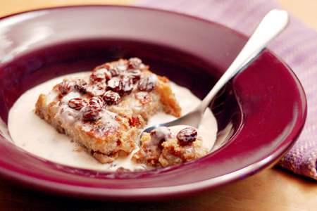 Praline Bacon Bread Pudding with Rum Raisin Crème Anglaise