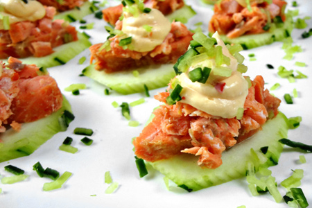 Asian Barbecued Salmon Canapes (via patiodaddiobbq.com)