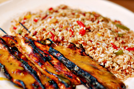 Brown Sugar Bourbon Pork Skewers & Dirty Rice