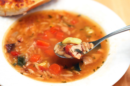 Roasted Vegetable & Toasted Orzo Soup