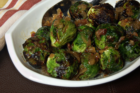 Grilled Brussels Sprouts with Onion-Bacon Marmalade